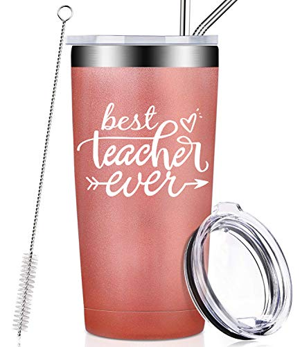Best Teacher Ever, Birthday Gifts for Teacher from Student, Kids, Appreciation Christmas Gift for Women, Men, Best Friend, Ladies, Classroom, Travel Coffee Mug Tumbler Cup with Lid and Straw