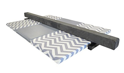 AK Athletics Folding Gymnastics Mat and 8' Suede Balance Beam Combo Grey Chevron