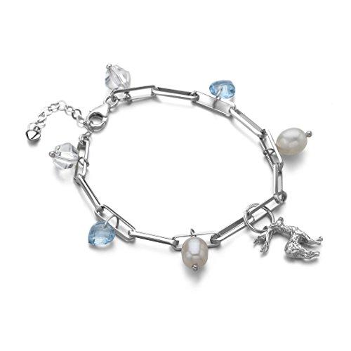 MIU Jewellery Freshwater Cultured White Pearl with Genuine Blue Topaz Silver Bracelet 17.5cm+4cm