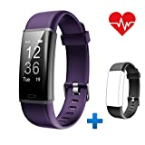 Lintelek Fitness Tracker, Customized Activity Tracker with Heart Rate Monitor, 14 Sports Modes Smart Watch IP67 Waterproof Pedometer for Men, Women and Kids (Purple+Black)