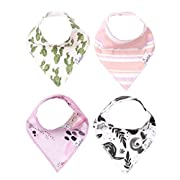 """Baby Bandana Drool Bibs for Drooling and Teething 4 Pack Gift Set For Girls """"Sage"""" by Copper Pearl"""