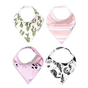 "Baby Bandana Drool Bibs for Drooling and Teething 4 Pack Gift Set for Girls ""Sage"" by Copper Pearl"