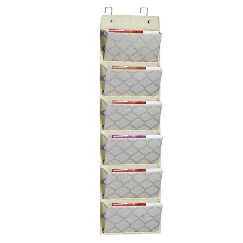 Homyfort Over the Door Hanging File Organizer, Office Supplies Storage Folder Holder Wall Mount for Home Organization, School Pocket Chart, Office Bill Filing Mail,6 Pockets Beige