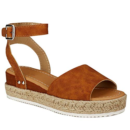 YYW Women\'s Ankle Strap Open Toe Wedge Platform Sandals Summer Cork Espadrille Flatform Sandal (Khaki,9 M US)