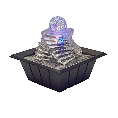 Ore International ft-1219 8 Spiral Ice Table Fountain with Multi Lights