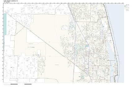 Palm Beach Fl Zip Code Map.Amazon Com Zip Code Wall Map Of Palm Beach Gardens Fl Zip Code Map
