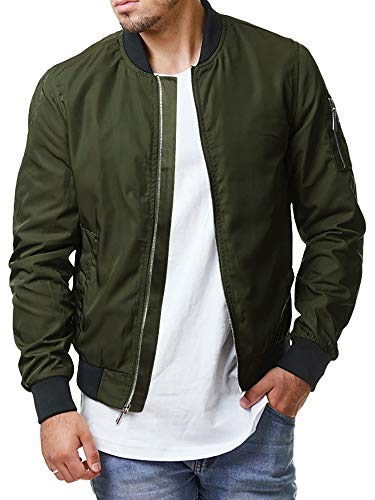 Pengfei Mens Diamond Quilted Jackets Bomber Varsity Winter Fall Chunky Coats Outwear (X-Large, 2 Army Green)