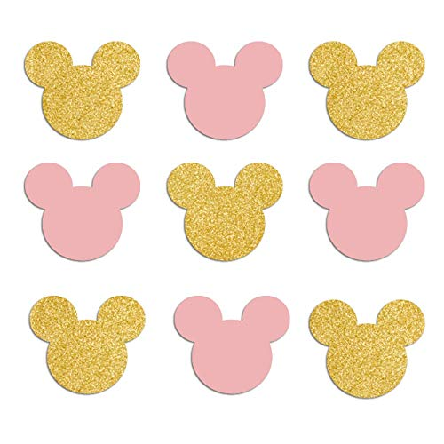 Minnie Ears Confetti - Pink and Gold Glitter - 50 Pieces -