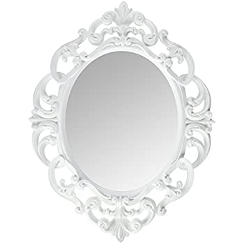 Kole White Oval Vintage Wall Mirror
