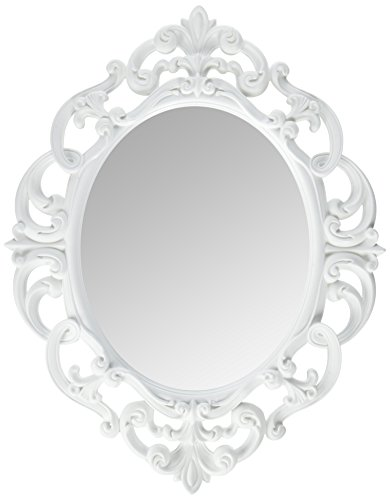 Kole White Oval Vintage Wall - Best Mirrors Walls Bathroom Dark For Navy Blue