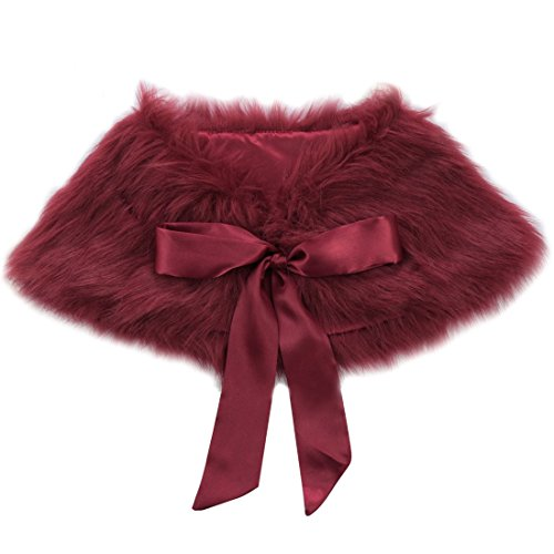 iEFiEL Girls Faux Fur Ribbon Ties Flower Dress Bolero Shrug Princess Cape Burgundy 3-6 Years
