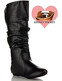 Women's Soft Vegan Slouchy Flat To Low Heel Knee High Boots – With Hidden Pocket – Medium and Wide Calf