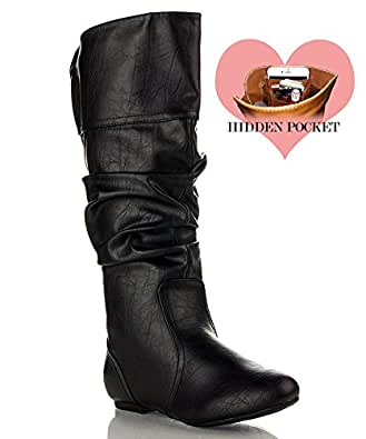RF ROOM OF FASHION Touched-11 Boots (Black PU Size 5.5)