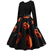 OWMEOT Women's Halloween Scary Bat Pumpkin Spider Smock Swing Dress Funny Long Sleeve Party Dresses