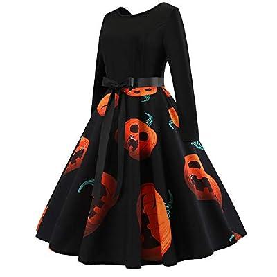 OWMEOT Women's Halloween Scary Bat Pumpkin Spider Smock Swing Dress Funny Long Sleeve Party Dresses