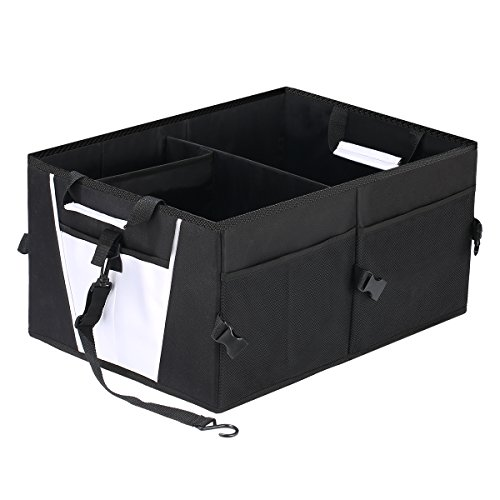 Upsimples Car Trunk Organizer Multi-Compartment Cargo Storage Organizer Heavy Duty Foldable Container with Non-Slip Bottom for Auto Truck SUV Minivan,Black (Trunk Basket)