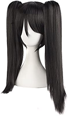 Black#4 MapofBeauty 20//50cm Double Tail Straight Hair Cosplay Braided Wigs