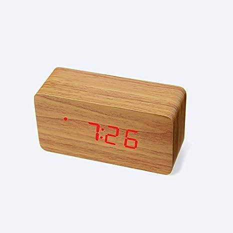 FYios Reloj Digital Control De Sonido Digital Despertador Reloj De Madera De Moda Originalidad Despertador Reloj Luminoso Mute C (12.5 * 4.8 Cm * 6) ...