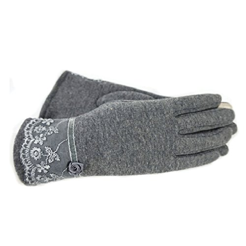 (MuLuo Winter Warm Women Gloves Touch Screen Gloves Lace Floret Cycling Gloves gray)