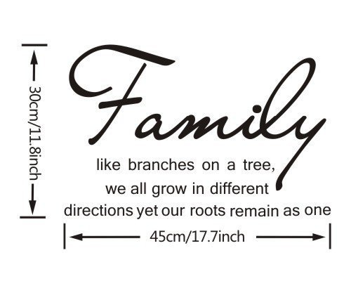 Apexshell Family Like Branches on a Tree Life Quote Wall Sticker for Sitting Room Wall Decor Decal
