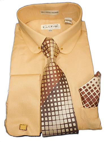 (Karl Knox SX4404 Mens Sand Beige Earthtone Round Eyelet Collar French Cuff Woven-Look Dress Shirt + Tie Set (2XL 18.5 Collar 34/35 Sleeve))