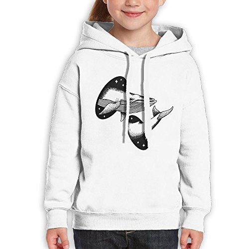 Price comparison product image AZBABY Cetacean Dream Whale Pass Through Space Unisex Teenage Long Sleeve Pullover Hoodie Sweatshirts