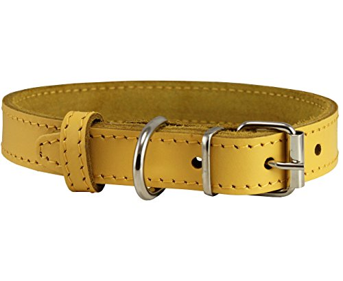 Dogs My Love Genuine Leather Dog Collar Yellow 7 Sizes (11.5