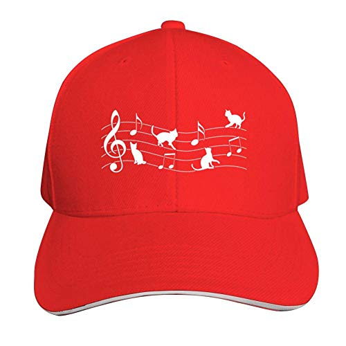 Cat Music Adjustable Baseball Cap, Old Sandwich Cap, Pointed Dad Cap Red