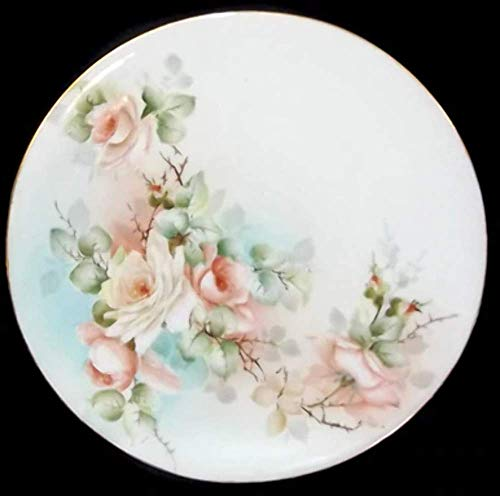 (Antique Signed Hand-Painted Porcelain Dinner Plate with Rose Flowers )