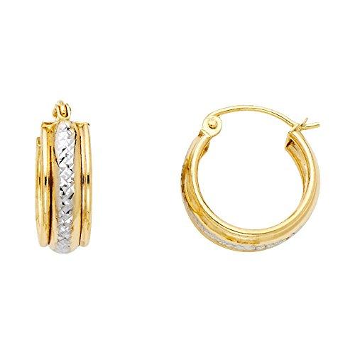 14k Two Tone Gold 6mm Thickness Huggie Hoop Earrings (15mm Diameter)