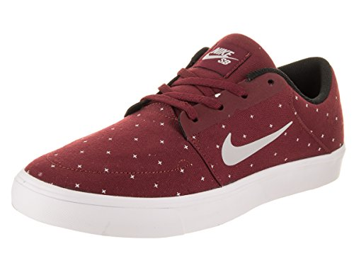 online store 96932 77efb Nike Men s SB Portmore Cnvs Premium Team Red Wolf Grey White Skate Shoe 12