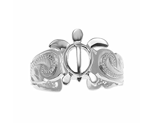925 sterling silver rhodium plated Hawaiian honu sea turtle scroll cut out scalloped edge toe ring