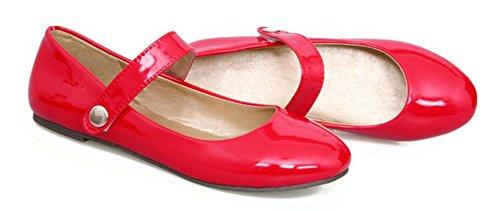 Aisun Womens Comfort Brunito Gancio E Passante Balletto Auto A Punta Rotonda Cinturini Alla Caviglia Scarpe Rosse