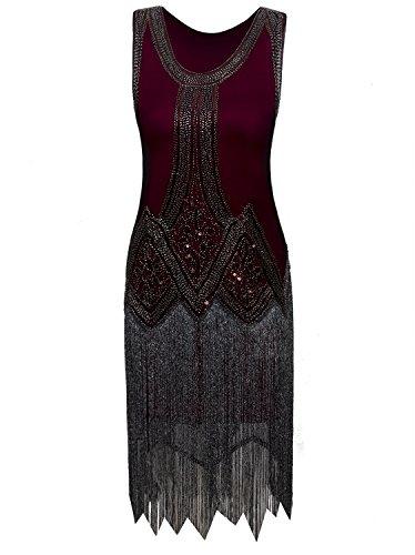 Modern Flapper Dress (Vijiv Vintage 1920s Full Fringed Tassel Beads Sequin Long Cocktail Flapper Dress)
