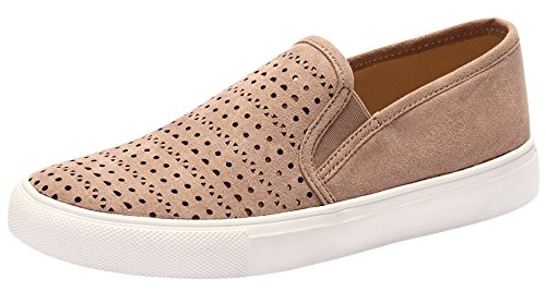 Sofree Women's Slip on Fashion Causal Sneakers Walking Shoes Taupe