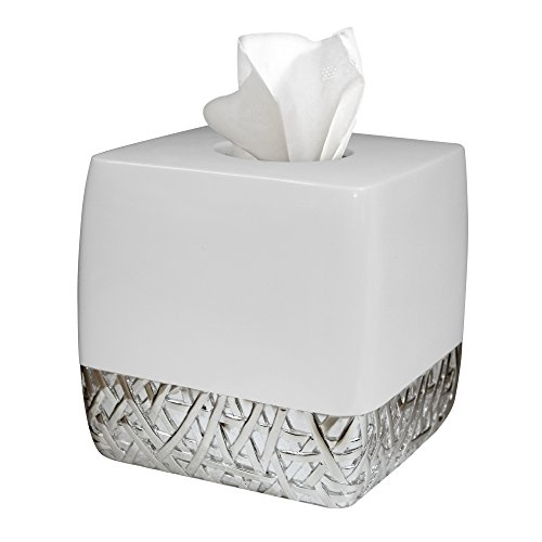(nu steel BALI9H Bali Collection Boutique, Square Shape, Paper Facial Tissue Box Holder for Bathroom Vanity Countertops, Bedroom Dressers, Nightstands, Desks and Tables, Resin with White Chro, Chrome)