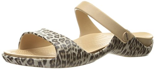 Sandal Cleo Leopard V Flat Graphic Black Women crocs cX5Wqan