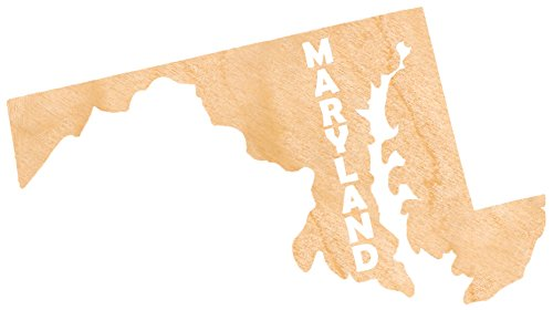 aMonogram Art Unlimited State Of Maryland Wooden Shape With State Name and 1/4 Burch plywood Wall Decor, 24''