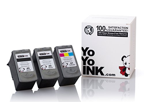 YoYoInk Remanufactured Ink Cartridges Replacement for Canon PG 40 & CL 41 (2 Black, 1 Color) (Ink Level Display Indicator) - Color Mx Canon Ink