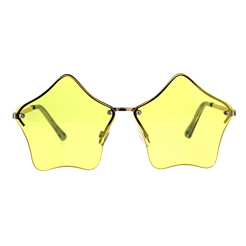 Star Shape Sunglasses Cute Stars Yellow Lens Half Rimless Frame UV 400]()