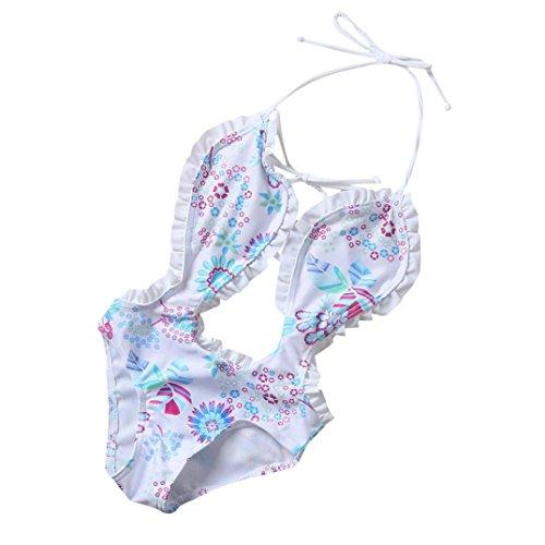 Misaky Kids Baby Girls One Piece Floral Bikini Swimwear Bathing Suit Beachwear (30CM(Age:5/6T), White)