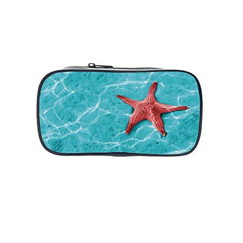 Polychromatic OptionalPen Bag,Starfish Decor,Hand Drawn Seastar Silhouettes in Blue Tones Border Framework Ocean Animals Decorative,Multicolor,for Kids,Diversified Design.8.7