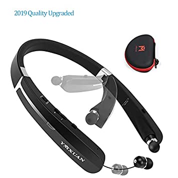 2019 Upgraded YMXUAN Bluetooth Headphones, Wireless Sports Headset Neckband with Foldable and Retractable,Deep Bass Sound, Noise Cancelling Watertproof for running, 15 Hours PlayTime for PC Cellphone
