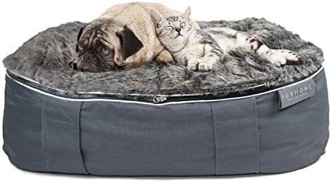 FURHOME COLLECTIVE Outdoor and Indoor Dog Beds for Medium Dogs with Removable Faux Fur and Cooling Mesh Cover – Memory Foam, 32.5 x 18