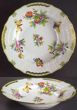 ヘレンド ヴィクトリア(グリーンボーダー) スープ皿 深皿(大) 2 [並行輸入品] B00C8JS9UO