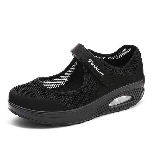 aeepd Women Nurse Shoes Walking Slip On Sneakers Mary Jane Velcro Breathable Mesh Platform Rocker Bottom Black  Price: $27.99 RATING: