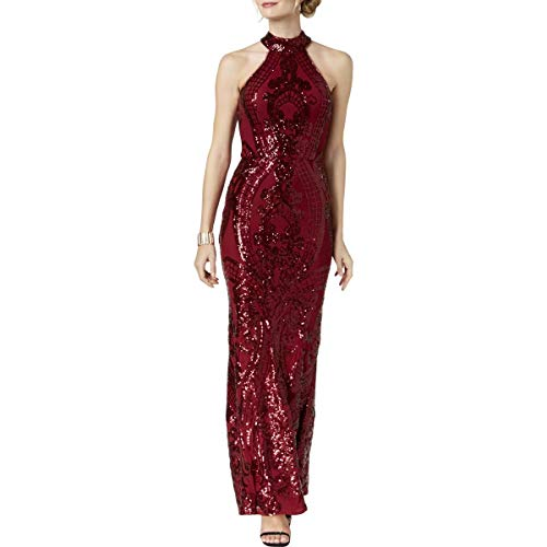 Betsy & Adam Womens Halter Special Occasion Evening Dress Red 10