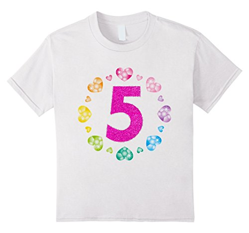 [Kids 5th Birthday T-Shirt For Girls Shiny Hearts Princess Five 6 White] (All White Party Outfit Ideas)