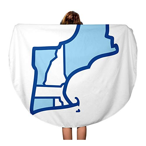 Pinbeam Beach Towel Colorful Island New England Map Outline Rhode America Travel 60 inches Round Tapestry Beach Blanket