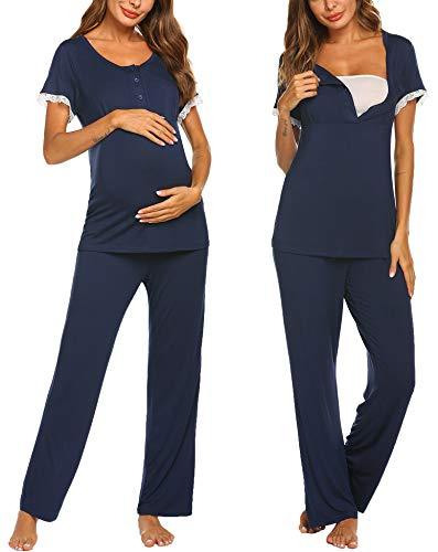 Ekouaer Maternity Pajamas Set Nursing Wear Lightweight Tops Pants Sets Solid PJ Nightwear(Navy Blue/S)